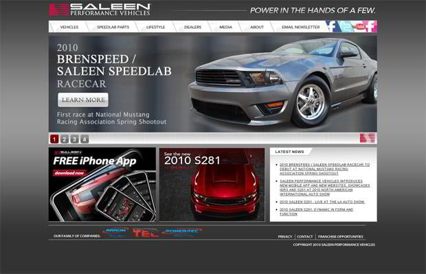 car webpage design - Saleen