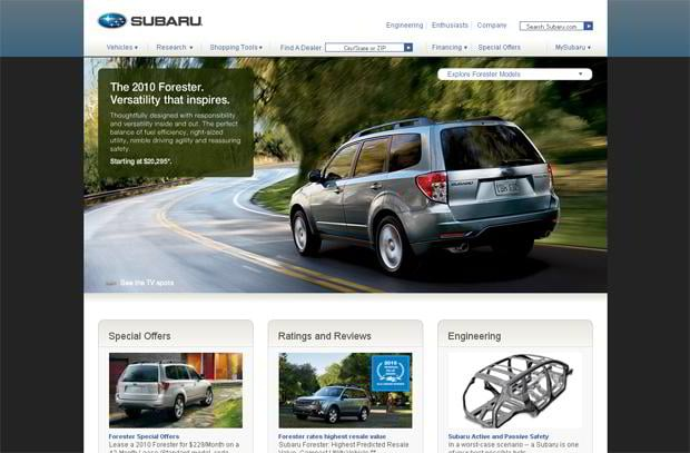 car web page design - Subaru
