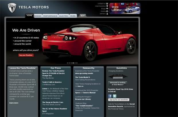 car web design - Tesla Motors