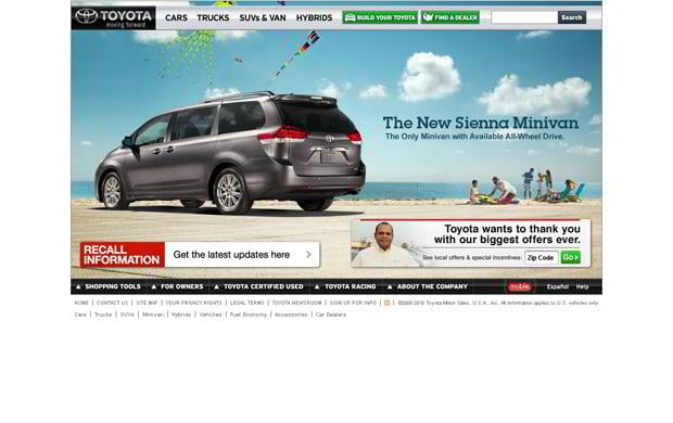 car web design theme - Toyota
