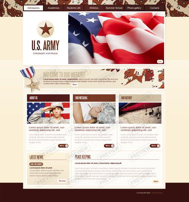 Web designs with flag images - U.S. Army