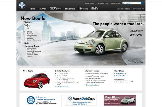 car web page design - VW