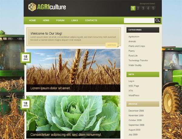 Agriculture jQuery template