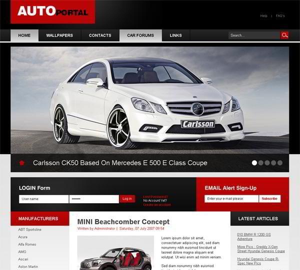 Auto Portal jQuery template