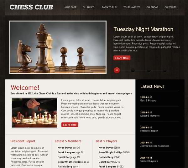 Chess Club jQuery template