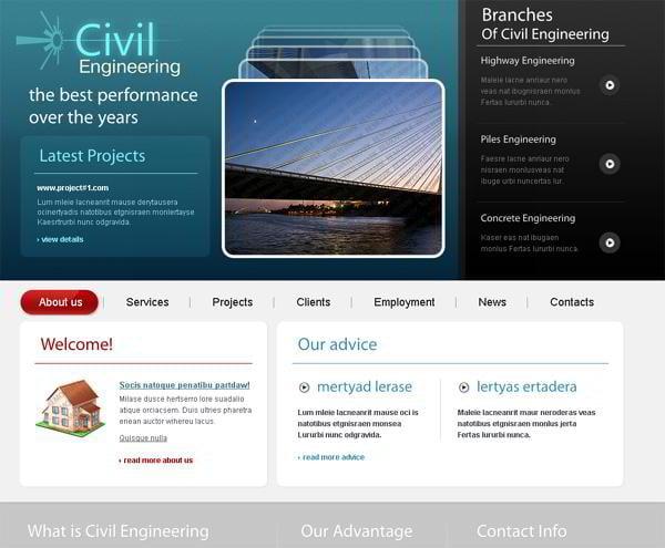 Civil Engineering jQuery template