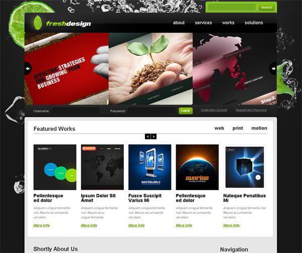 Fresh Design jQuery template