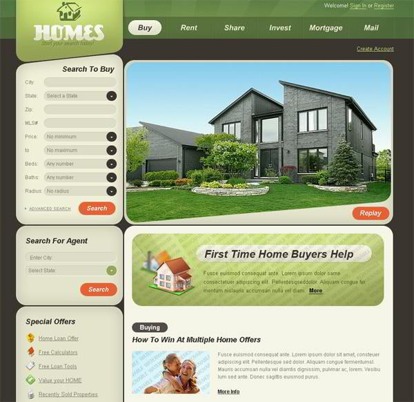 Homes jQuery template