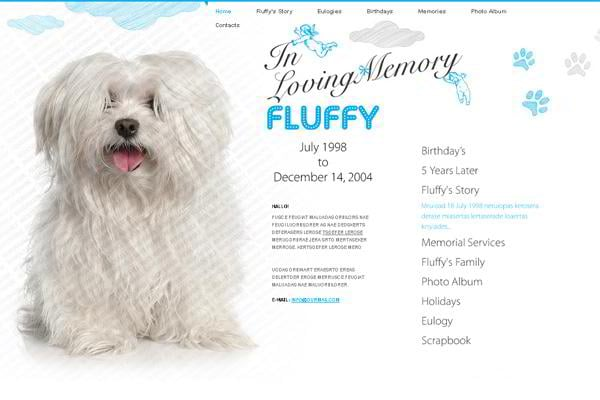 In Loving Memory Fluffy jQuery template