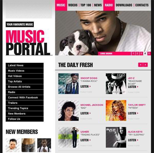 Music Portal jQuery template