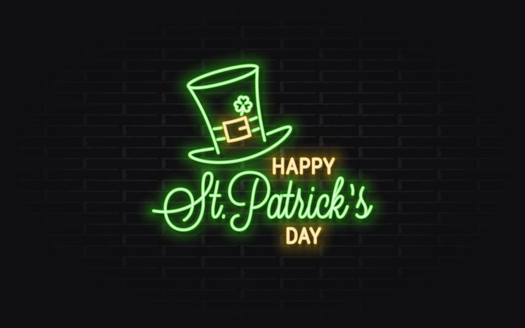 Patricks Day Neon Banner. Corporate Identity Template.