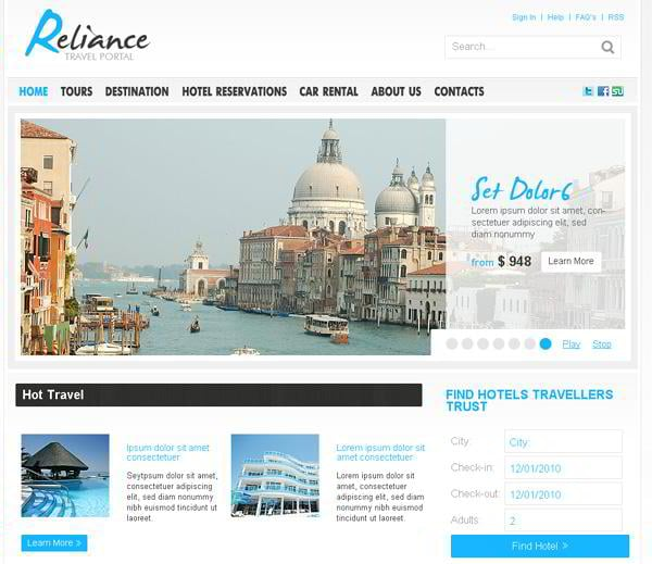 Reliance jQuery template