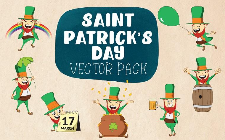 Saint Patrick Day - Vector Pack - Different Pose Illustrations of Irish Leprechaun.