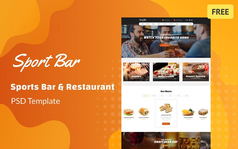 Sports Bar & Restaurant Multipage Free PSD Template.