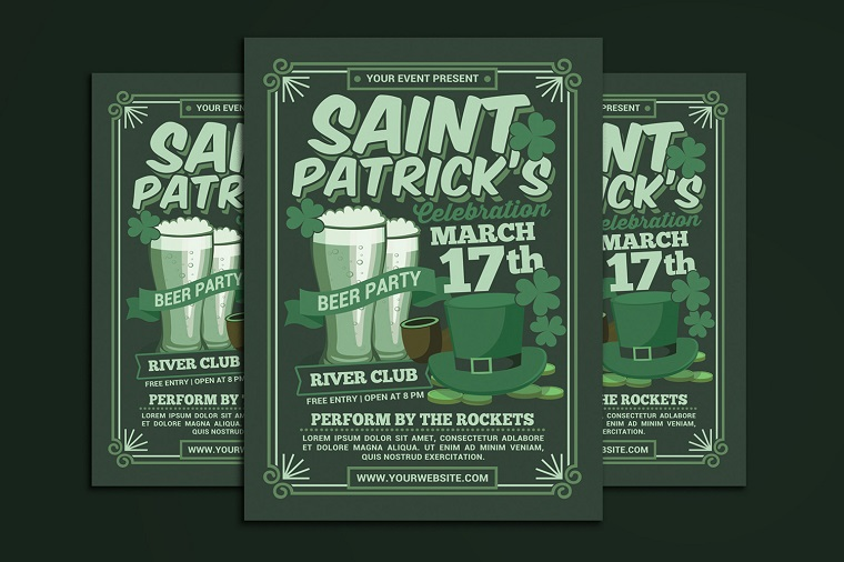 St Patricks Day Beer Party Celebration Corporate Identity Template.