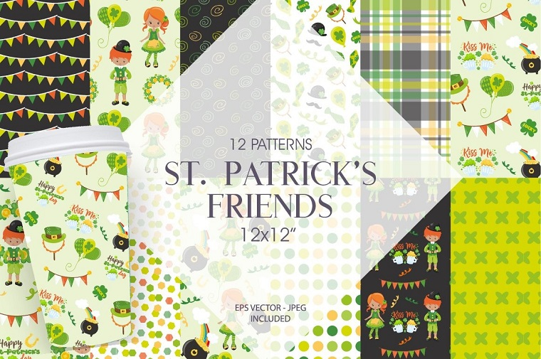 St. Patrick's Friends Digital Paper Vector.