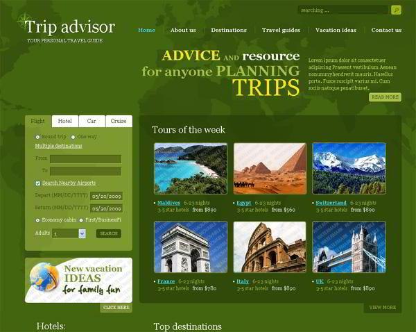 Trip Advisor jQuery template