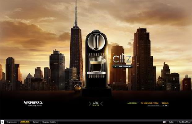 flash website design - Nespresso.com