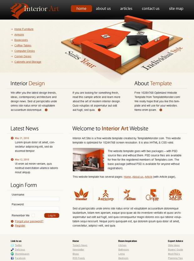 Free Interior Art Website Template