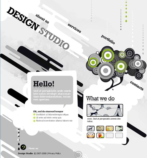 hand drawn web template