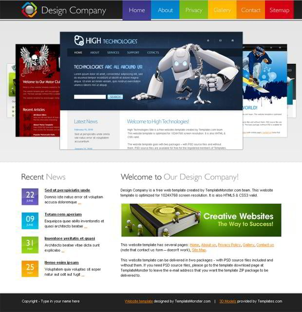 Free HTML5 Website Template for Design Company 5kiQIChB