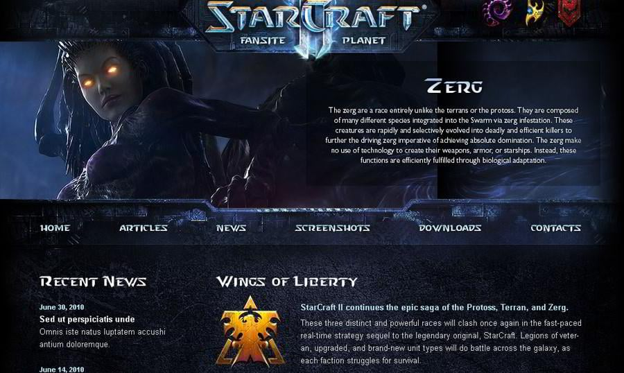 Free WordPress 3.0 Theme for StarCraft II: Enter the  Fascinating World!