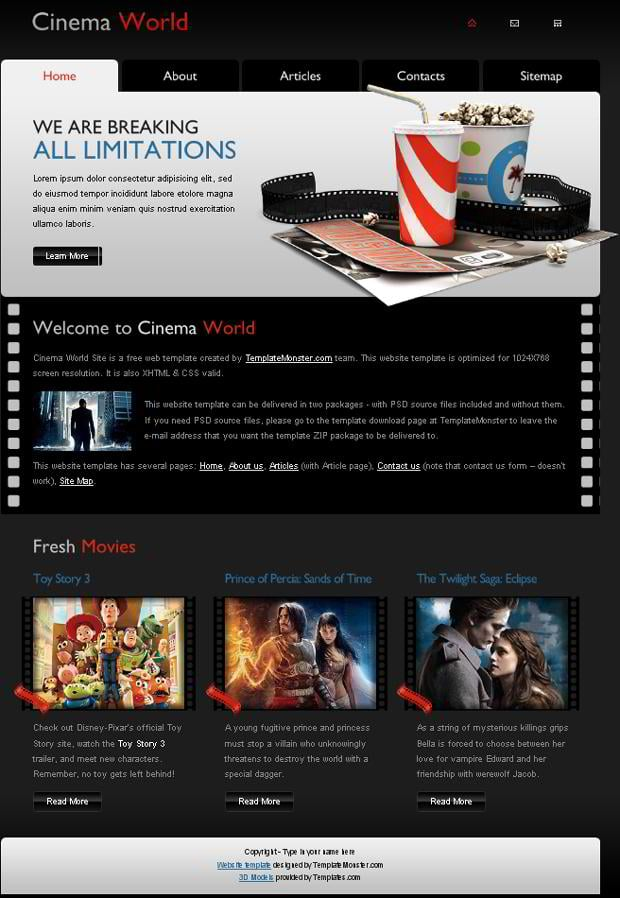 Free Cinema Website Template from TemplateMonster