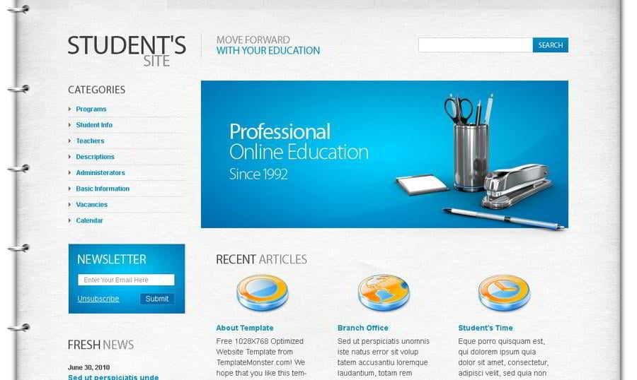 Free Education Website Template – The Best Choice for Students!