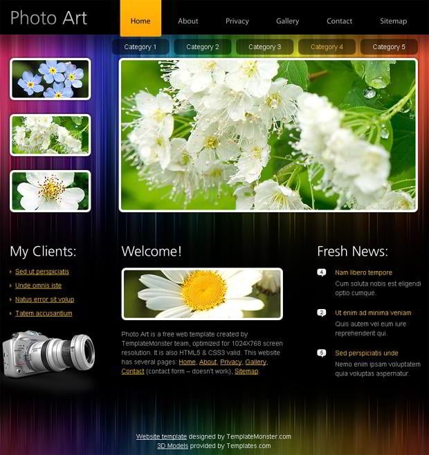 Free html5 website template highlight your portfolio for Free website templates html5