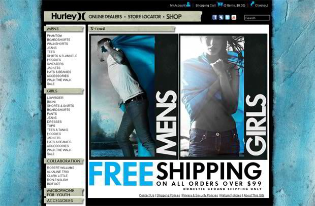 apparel web layout
