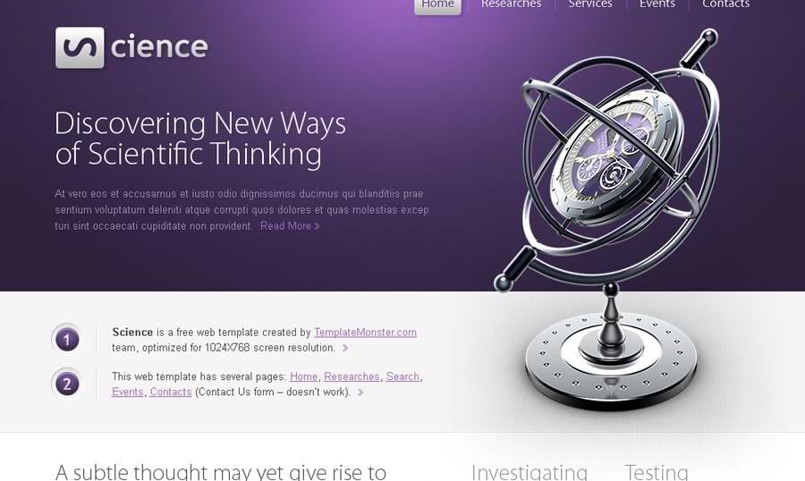 Free Science HTML5 Website Template