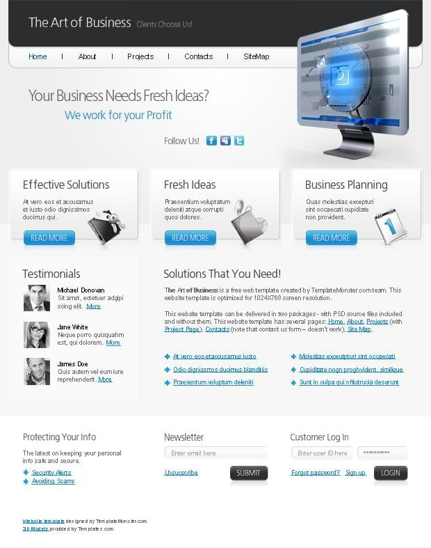 free html5 website template the art of your business monsterpost