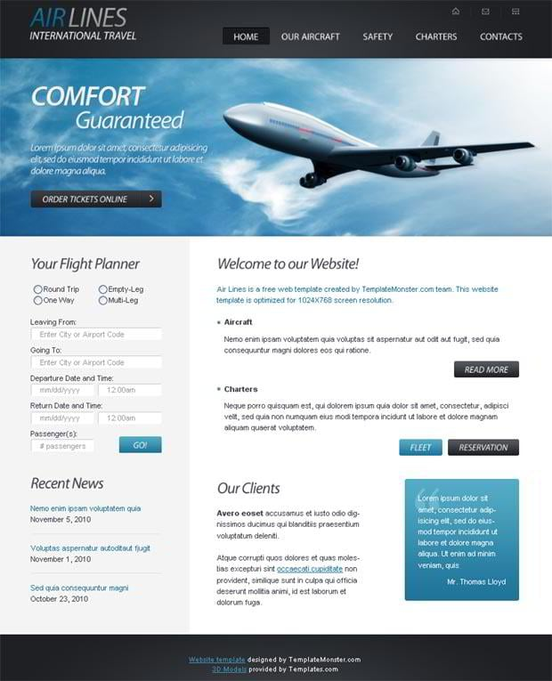 Free HTML5 Website Template for Airlines Company - MonsterPost