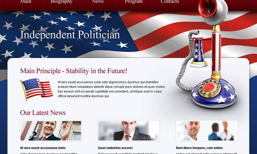 Free Politics Website Template. Get the Potent Force on the Web!