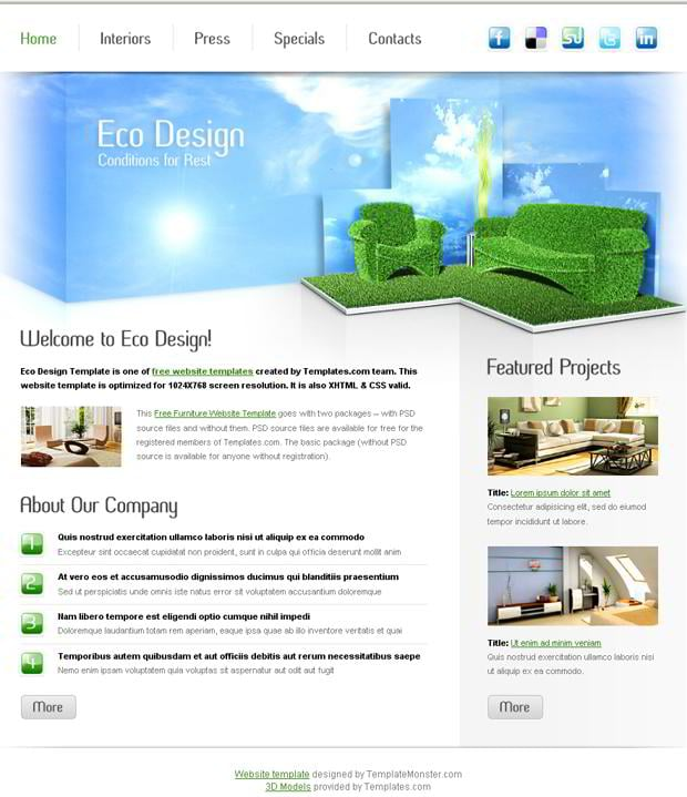 Free Furniture Website Template for Eco Design Company   MonsterPost XG66TEMT