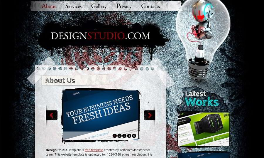 Free Website Template. Excellent for Web Design Studio