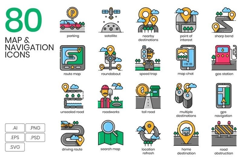 80 Map Navigation Icons - Aesthetic Series Iconset Template