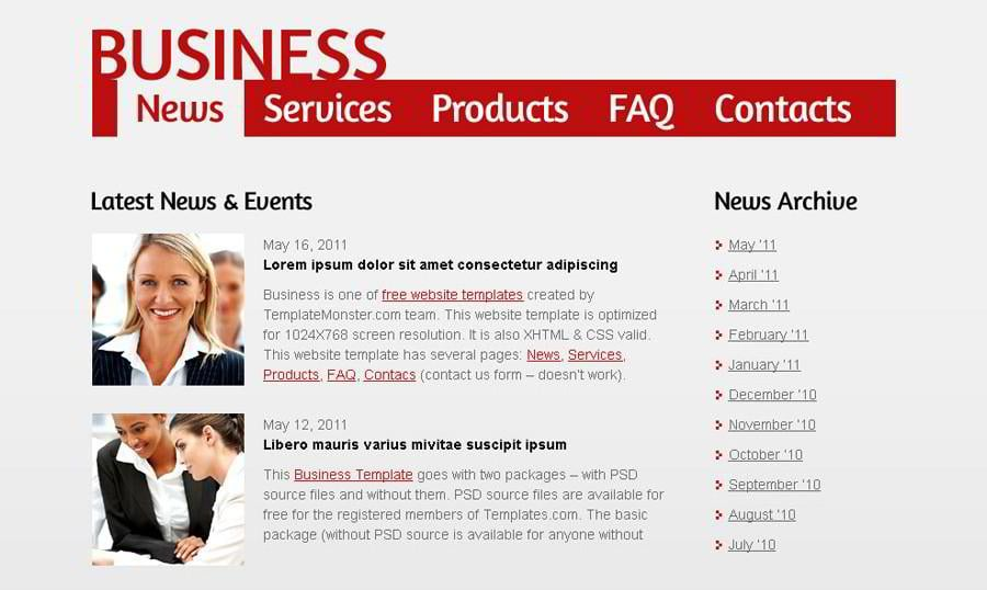Free Website Template for Efficient Business Project
