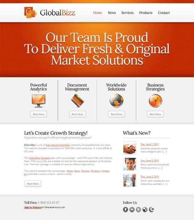 Free Website Template in Business Style