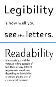 Legibility and readability