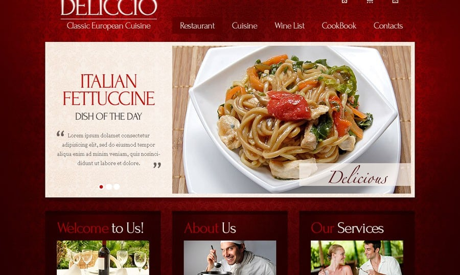 Free Website Template with jQuery Slider and Typography – Restaurant