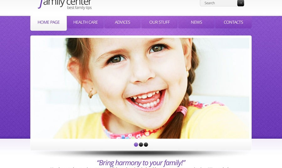 Free Website Template in Clean Style for Family Center