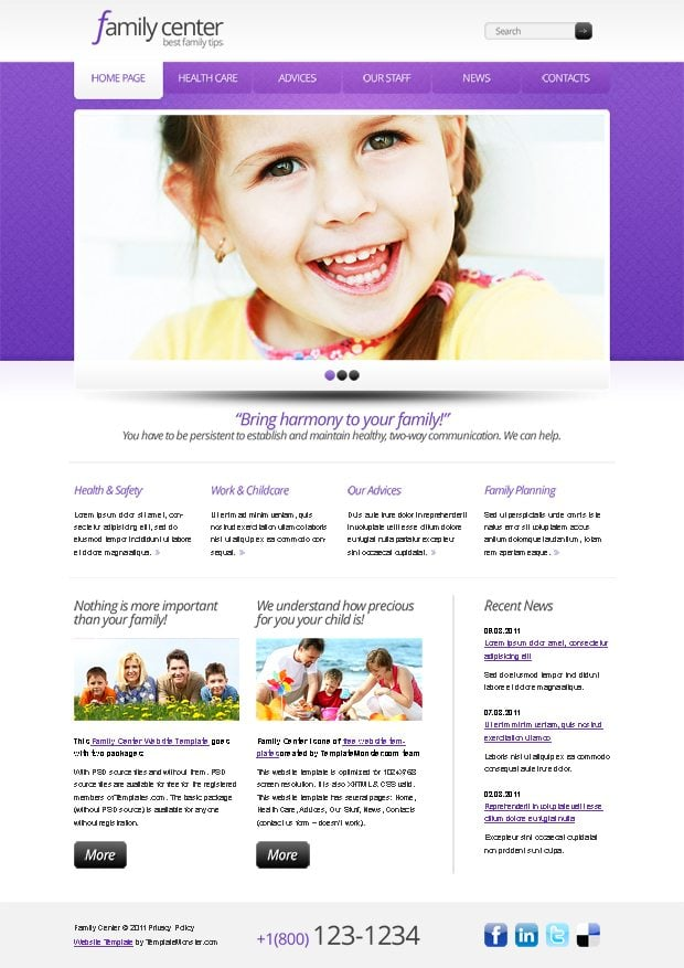 Free Website Template for Family Center