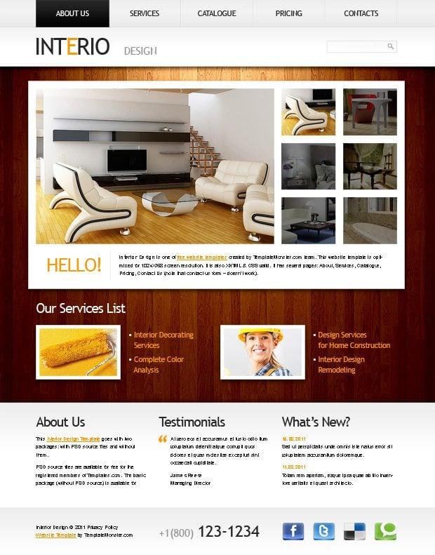 Free Interior Website Template