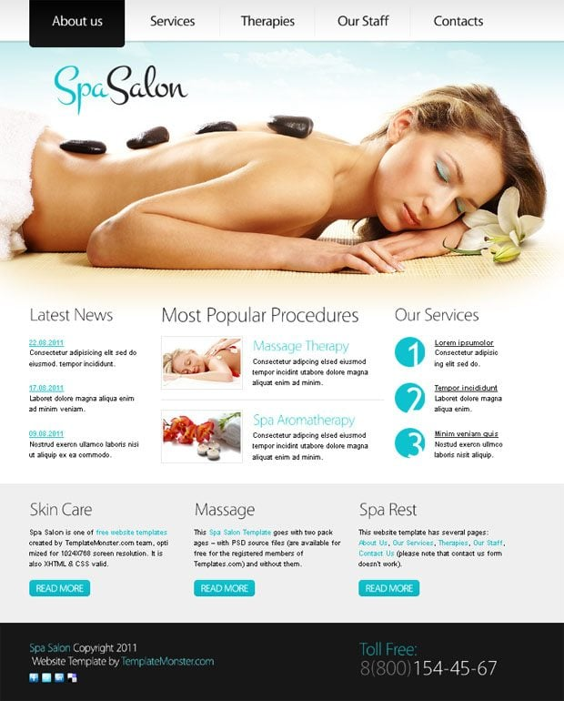 Free Website Templater Spa Salon