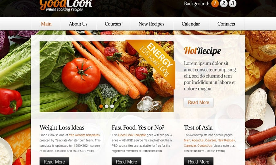 Free Website Template with Slideshow for Cooking Site