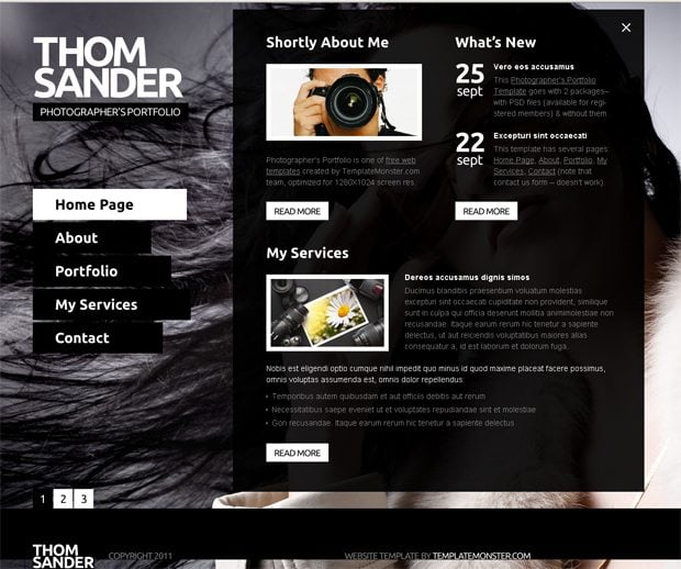 Website Templates For Photographers Lab Website Template Art - Free photography website templates