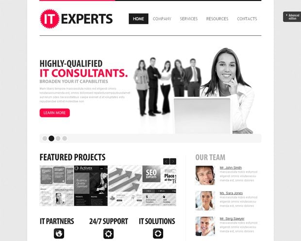 extended package website template
