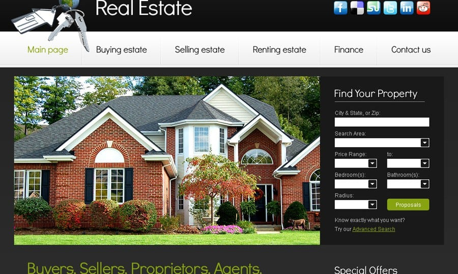 Free Website Template with Slideshow for Real Estate Project
