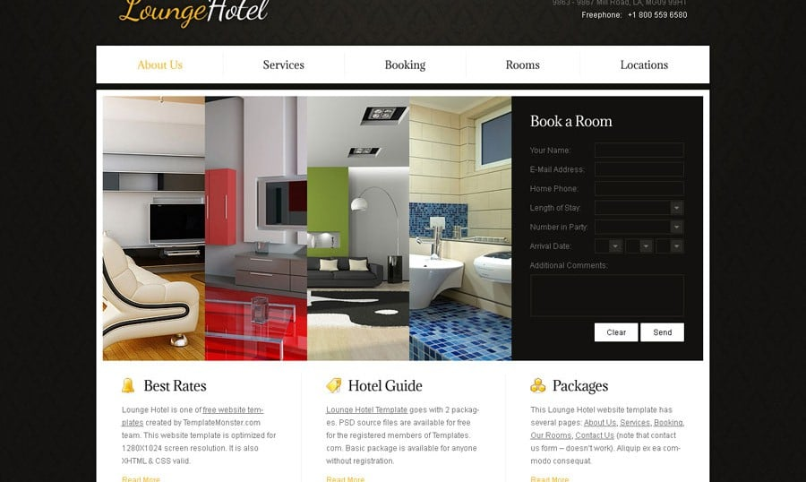 Free Website Template with Accordion for Hotel Business